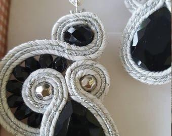 Earrings Soutache White black Silver