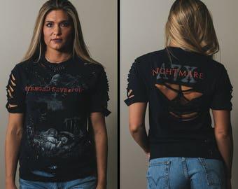 Avenged Sevenfold - Distressed shirt - Custom band shirt - Reworked band tee - Pinned shirt - Small