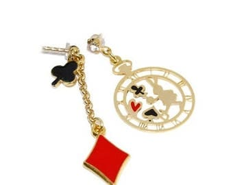 Wonderland Earrings  , Poker Earrings,  Alice in Wonderland Jewelry , Poker Earrings,  Stopwatch Stud Earrings , dainty earrings