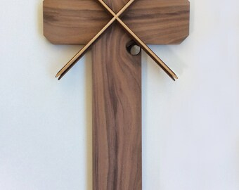 Wooden Cross in Natural Walnut Wood