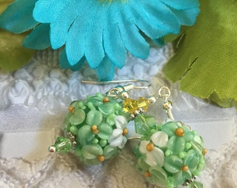 Green Lampwork Floral Earrings with White and Green Flowers SRA Lampwork Earrings, SRA Lampwork Jewelry, Gift For Her