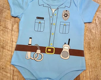 Back The Blue, Police, Law Enforcement, Police Babies, Baby Boy Police Uniform Onesie Bodysuit