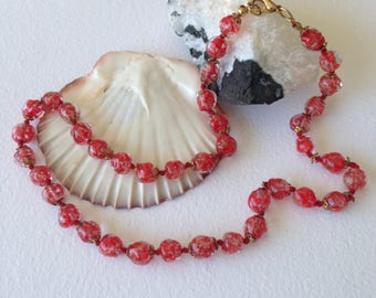 Vintage red and gold murano glass bead necklace