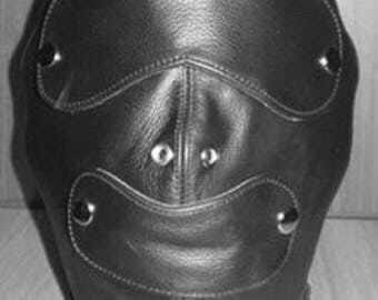 Genuine Leather Hood, Removable Blindfold & Gag, Hand crafted USA  0311
