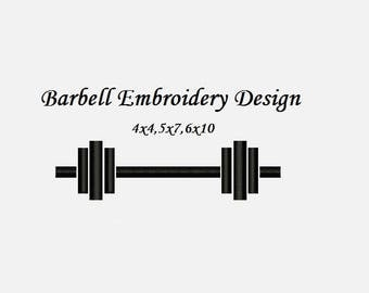 Barbell Embroidery Design - 4x4, 5x7, 6x10 hoop size instant download