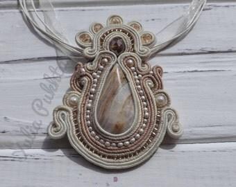 Natural stone Soutache pendant Onyx Pendant Beige soutache Embroidered necklace Gemstone pendant Embroidered pendant Statement pendant