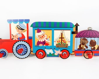 Vintage interior design-coat hook Board cheerful circus train-Mackenzie Art