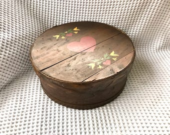 Vintage Dufeck's Cheese Box | Round Wooden Cheese Container | Sewing Box | Wooden Storage Box | Lined Cheese Box | Painted Cheese Box