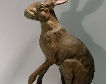 Jack  -Bronze life size jack rabbit sculpture