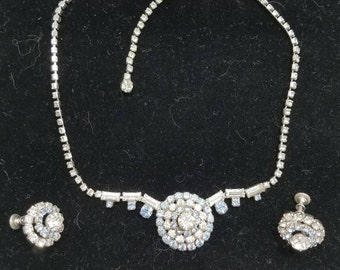 Something Old & Blue! Lovely Blue and White Rhinestone Necklace and Matching Screw Back Earrings