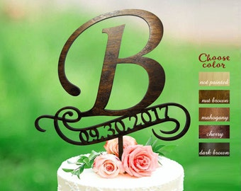 Letter b cake topper, cake toppers for wedding, letter and date wedding topper, initial cake topper, cake topper b, Cake topper date, CT#117
