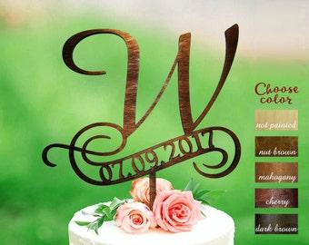 w cake topper, rustic monogram cake topper wedding, date wedding cake toppers, wooden cake topper, cake topper w, cake topper date, CT#166