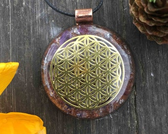 Flower Of Life Amethyst Mini Orgonite® Necklace