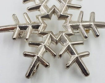 "Silver Snowflake Pendant Brooch  2 1/4"" x 2"" Shiny Vintage Costume"