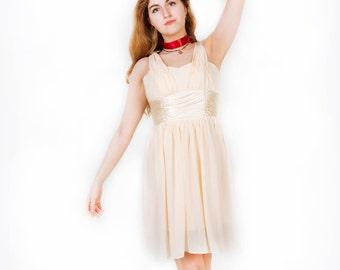 Beautiful Unique Handmade Dress // One of a Kind Bridal Dress // Vintage Style Prom Dress // Vintage Cream Pink Flower Ruffles