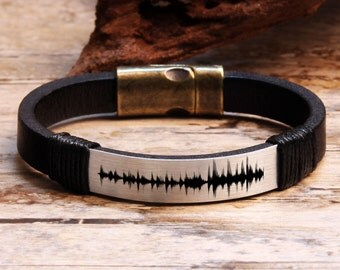 Sound Waves Bracelet, Personalized Bracelet, Mens Leather Bracelet, Voice Recording, Personalized Mens Gift, Special Gift, Anniversary Gifts