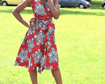 Anabelle African Print Wrap Dress