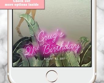 30th birthday Snapchat * Snapchat Filter Birthday Tropical Birthday Geofilter Neon Filter Tropical party Happy Birthday Geofilter Pink Snap