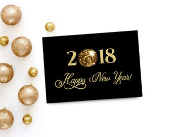 Happy New Year Cards Digital, Printable New Years Card, Instant Download, Black and Gold, Elegant New Years Greeting Card, Happy New 2018