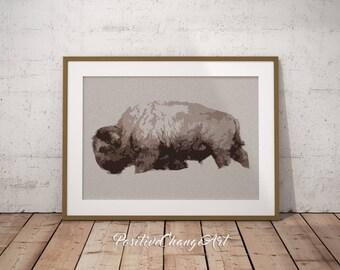 Buffalo Print, Bison Art, Buffalo Art Print, Animal Photography, Buffalo Wall Art, Printable Buffalo, Buffalo Poster, Snow, Animal Wall Art