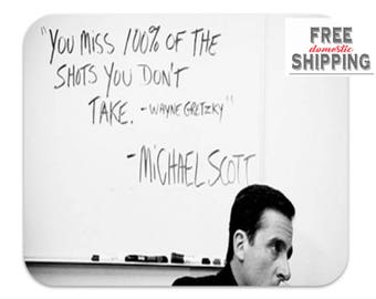 You Miss 100% of the Shots You Don't Take Desk Mouse Pad, The Office TV Show Mousepad, Michael Scott Wayne Gretzky Quote Mousepad