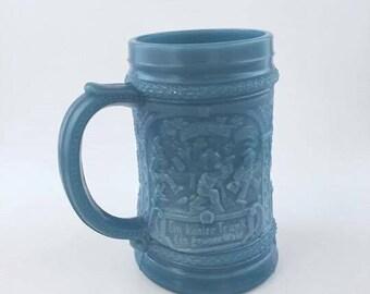 Vintage Westmoreland Blue Milk Glass Gnome Stein