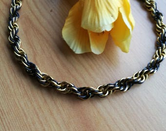 Black and Gold Chain Maille Twisted Necklace - CMN11