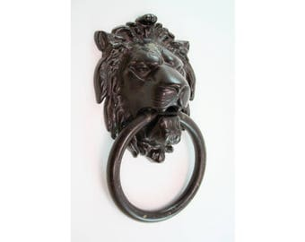 Vintage Large Brass Lions Head Door Knocker