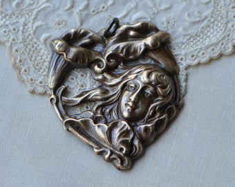 Art-Nouveau Cala Lily Lady Woman Portrait Pendant Heart Antiqued Brass Made in USA
