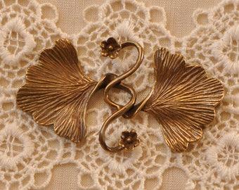 Antiqued Brass Interlocking Clasp Closure Art-Nouveau Style 4 Strand for Necklace Bracelet 1 Piece