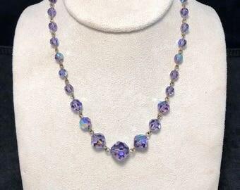 Vintage Purple Aurora Borealis Crystal Necklace
