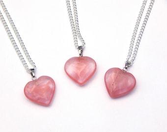 Cherry Quartz Necklace, Cherry Quartz Crystal Necklace, Cherry Quartz Heart Necklace, Crystal Necklace, Heart Necklace, Quartz Necklace