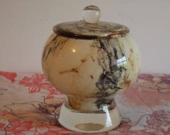 New listing............A very nice art glass container, with lid.