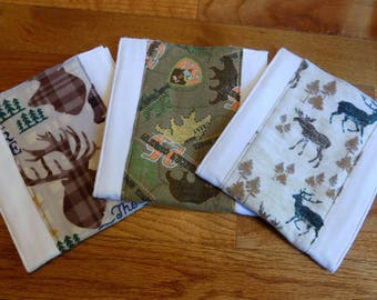 Set of 3 Outdoors Burp Cloths - Baby Shower Gift