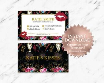 Boho|Red|Gold|Black|LipSense Business Cards|SeneGence Business Cards|LipSense Template|Floral Business Cards|Business Cards Only