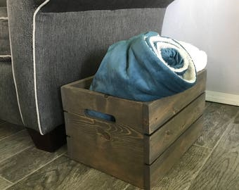 Wooden Crate Rustic Crate Pallet Style Crate Storage Crate Storage Bin Storage Basket Wooden Storage Crate Toy Bin Dog Toy Crate