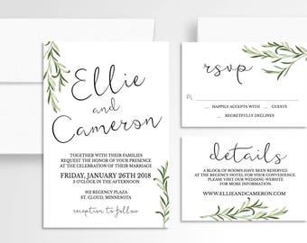 SImple Greenery Wedding Invitation // Wedding Suite // Laurel Wedding Invitation // Wedding Stationery // Laurels  // Green // Modern
