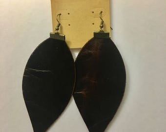 Leather teardrop/leaf earrings, brown, 4 in long