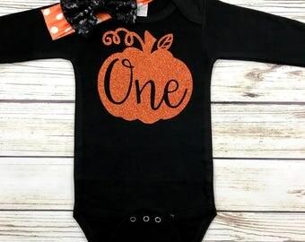 Baby Girl First Birthday Pumpkin One Halloween Birthday Bodysuit Outfit