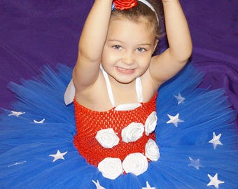 Tulle Tutu Skirt July 4th Independence Day Patriotic Girl Toddler Dress & Headband Outfit Red White and Blue Star Spangled Flag