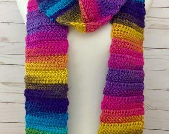 Rainbow Scarf, long scarf, crochet scarf, scarf