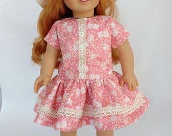 18 inch doll clothes, doll dress  hat  shoes, Vintage style doll outfit, 1956 retro doll clothes, fits dolls similar to American Girl dolls