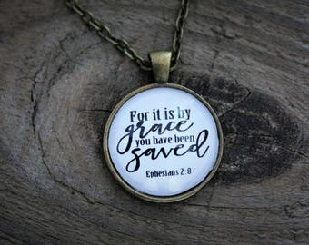 """Antique Bronze """"Ephesians 2:8"""" Pendant Necklace"""