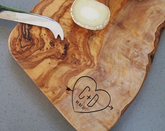 Personalised chopping board, olive wood cheese board