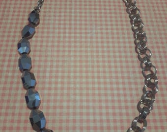 Silver beads and chain necklace