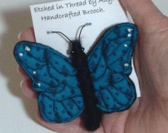 Butterfly Brooch Thread Painted