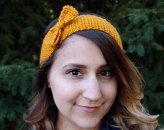 Yellow headband with crochet bow