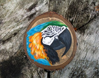 Macaw painting, original painting, wood slice painting, colourful bird art, parrot painting, painting on wood, miniature painting, bird gift