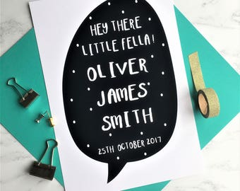 Personalised Baby Boy Print, Personalised Baby Name Print, Custom Baby Name Print, New Baby Wall Print, Nursery Wall Print, Nursery Decor