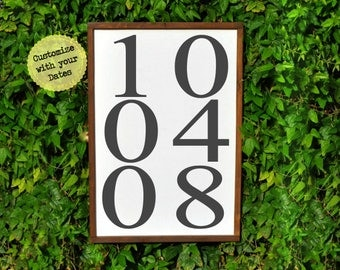 Anniversary Date Sign, Romantic gift for her, wedding gift for couple, wall art, Anniversary Gift Sign husband, custom farmhouse sign